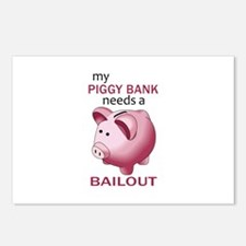 PIGGY NEEDS A BAILOUT Postcards (Package of 8)