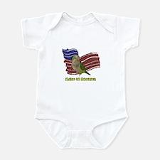 Patriotic Quaker Parrot Baby Bodysuit