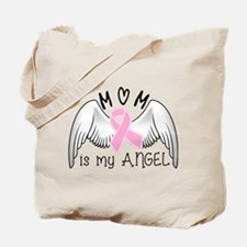 Breast Cancer Awareness Mom Is My Angel Tote Bag