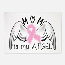 Breast Cancer Awareness Mom Is My Angel 5'x7'Area