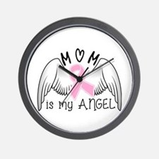 Breast Cancer Awareness Mom Is My Angel Wall Clock