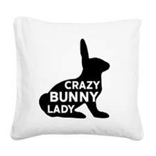 Crazy Bunny Lady Square Canvas Pillow