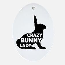 Crazy Bunny Lady Oval Ornament