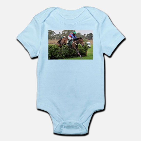 Racehorse and jockey jumping at steeplec Body Suit