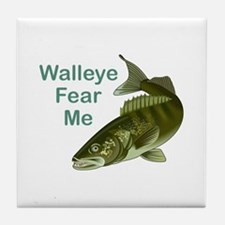 WALLEYE FEAR ME Tile Coaster