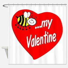 Bee My Valentine Shower Curtain