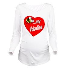 Bee My Valentine Long Sleeve Maternity T-Shirt