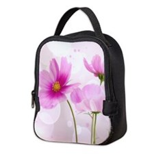 Pink Cosmos Flower Neoprene Lunch Bag