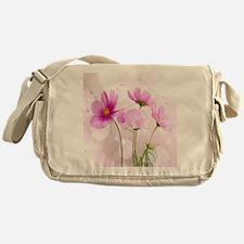 Pink Cosmos Flower Messenger Bag