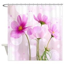 Pink Cosmos Flower Shower Curtain