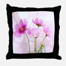 Pink Cosmos Flower Throw Pillow