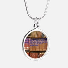 Subversive Librarians Silver Round Necklace