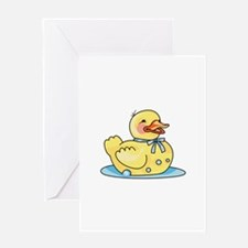 RUBBER DUCK ON WATER Greeting Cards