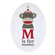 M Is For Monkey Ornament (Oval)