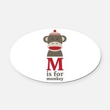 M Is For Monkey Oval Car Magnet