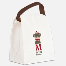 M Is For Monkey Canvas Lunch Bag