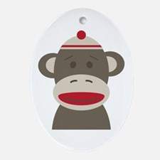 Sock Monkey Ornament (Oval)