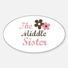 the middle sister pink brown flower Oval Decal