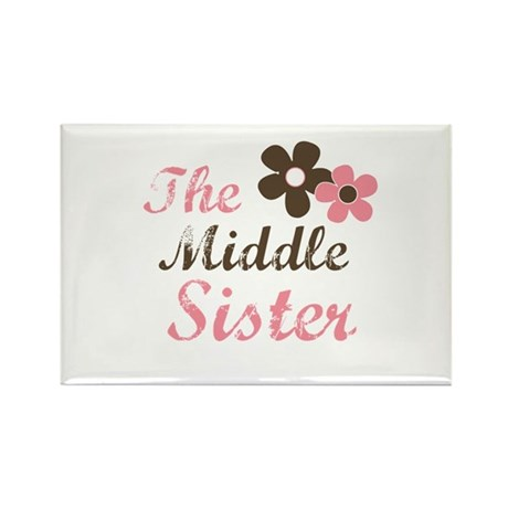 the middle sister pink brown flower Rectangle Magn