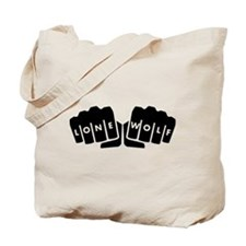 Lone Wolf Knuckle Tattoo Tote Bag