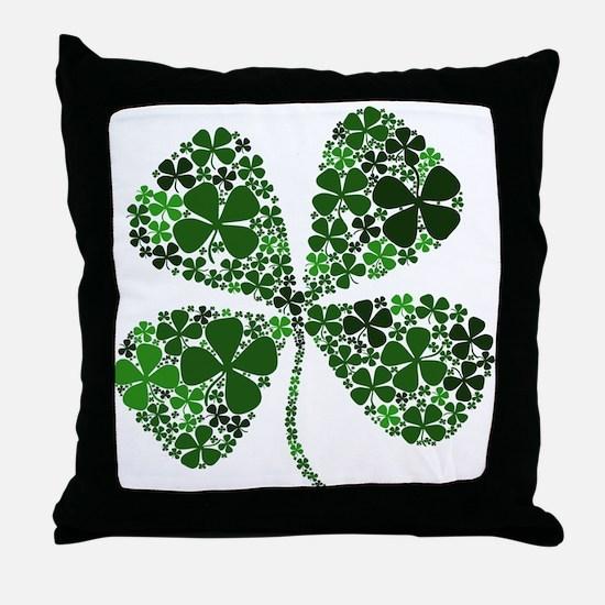 Infinite Luck Four Leaf Clover Throw Pillow
