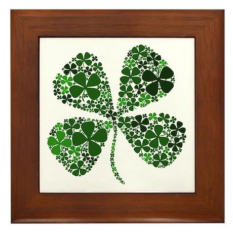 Infinite Luck Four Leaf Clover Framed Tile