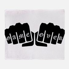 Game Over Knuckle Tattoo Throw Blanket