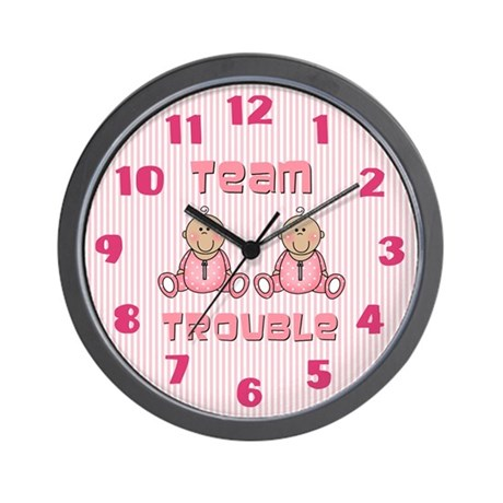 Baby Girl Twins Wall Clock
