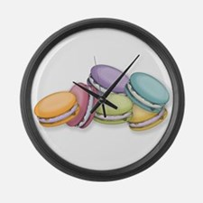 Colorful French Macaron Cookies Large Wall Clock