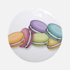 Colorful French Macaron Cookies Ornament (Round)