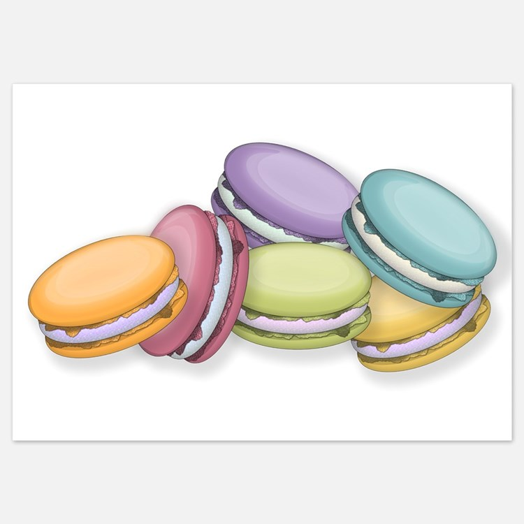 Colorful French Macaron Cookies Invitations