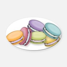 Colorful French Macaron Cookies Oval Car Magnet