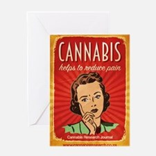 Retro Cannabis Poster Reduces Pain Greeting Card