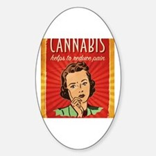 Retro Cannabis Poster Reduces Pain Sticker (Oval)
