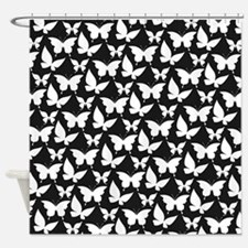 Black and White Pretty Butterflies Shower Curtain