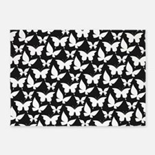 Black and White Pretty Butterflies 5'x7'Area Rug