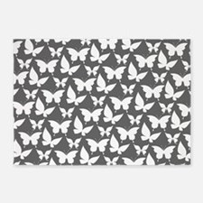 Gray and White Pretty Butterflies P 5'x7'Area Rug