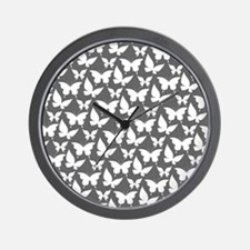 Gray and White Pretty Butterflies Patte Wall Clock