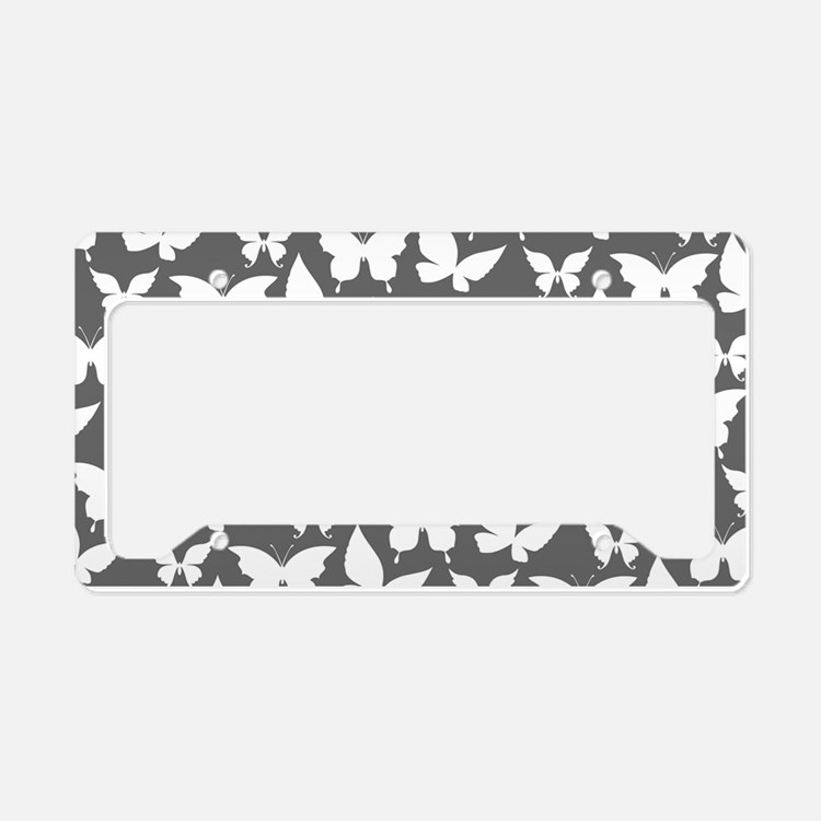 Gray and White Pretty Butterf License Plate Holder