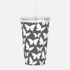 Gray and White Pretty Acrylic Double-wall Tumbler