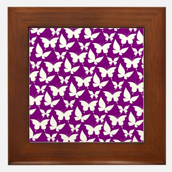 Purple and White Pretty Butterflies Pa Framed Tile