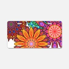 Funky Floral Pattern Aluminum License Plate