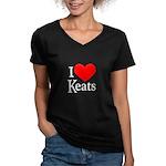 I Love Keats Women's V-Neck Dark T-Shirt
