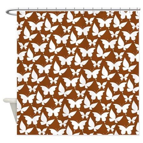 Brown And White Pretty Butterflies Shower Curtain By Bimbys