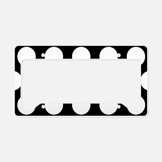 # Black And White Polka Dots License Plate Holder