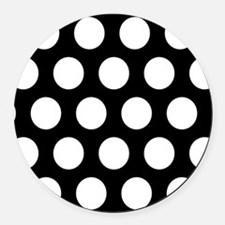 # Black And White Polka Dots Round Car Magnet