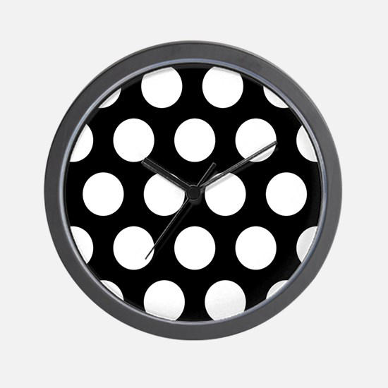 # Black And White Polka Dots Wall Clock