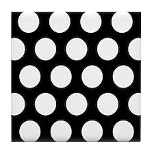# Black And White Polka Dots Tile Coaster