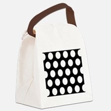 # Black And White Polka Dots Canvas Lunch Bag