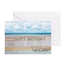 100th birthday, writing on a beach Greeting Cards